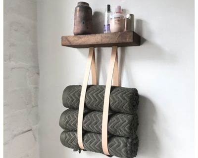 Håndklædeholder – Eg og læder